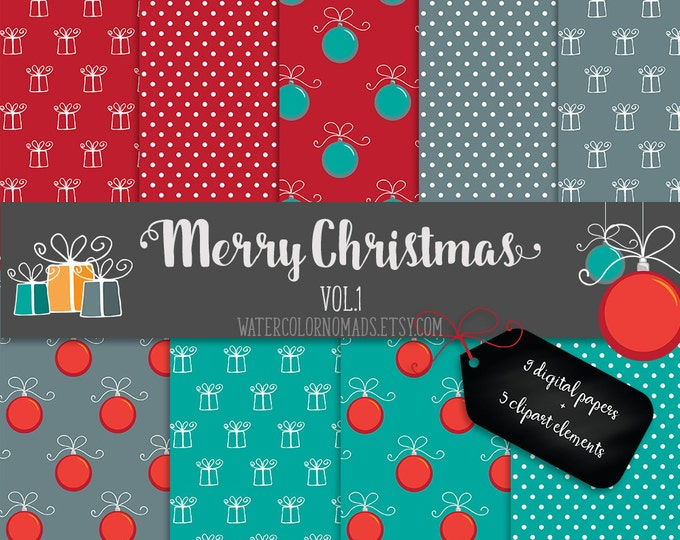 Christmas Clipart, digital paper, Digital Scrapbooking Paper, pattern background, red, teal, digital clipart, Christmas, Ornament, Present