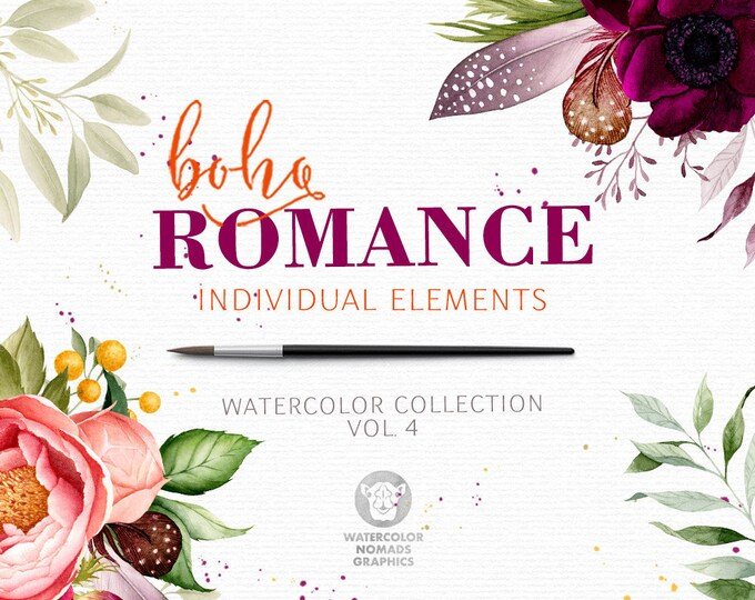 Boho Romance Vol 4, watercolor clipart, flowers clip art, peonies, feathers, bridal graphics, greenery, floral illustration