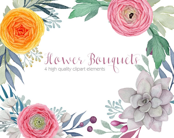 Ranunculus watercolor clipart, flower clip arts, succulent cliparts, DIY invitation, flower clipart, digital watercolor, flower bouquet