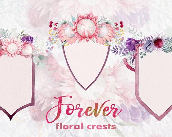 Watercolor clipart, floral crest, flower clipart, wedding clip art, King Protea, digital clipart, floral clipart, eucalyptus leaves