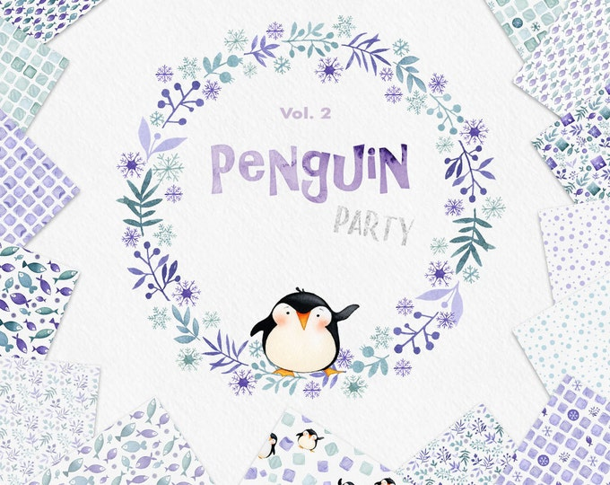 Watercolor Penguin Clipart, DIY Kit, Winter wreath clipart, digital papers, seamless pattern,  watercolor wreath, winter clip art, ice cube
