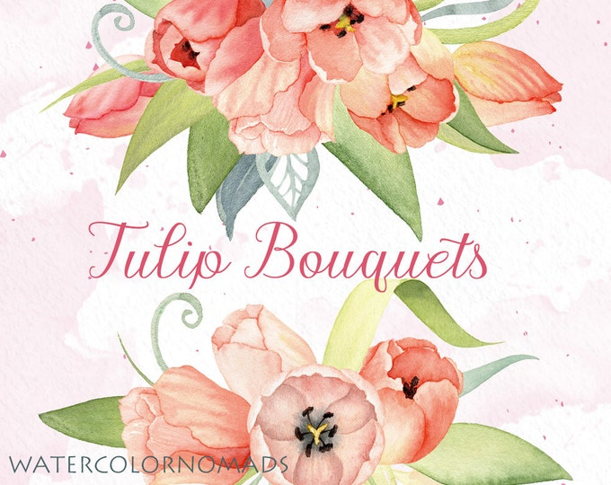 Watercolor clipart, Tulip flower clipart, wedding clipart, pink flower clipart, digital clipart, hand painted, floral clipart, spring flower