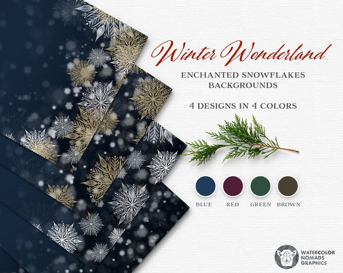 Enchanted Snowflakes Digital Backgrounds, Digital Paper, Gold Snowflake design, Burgundy, Green, Brown and Blue, New Years backdrop