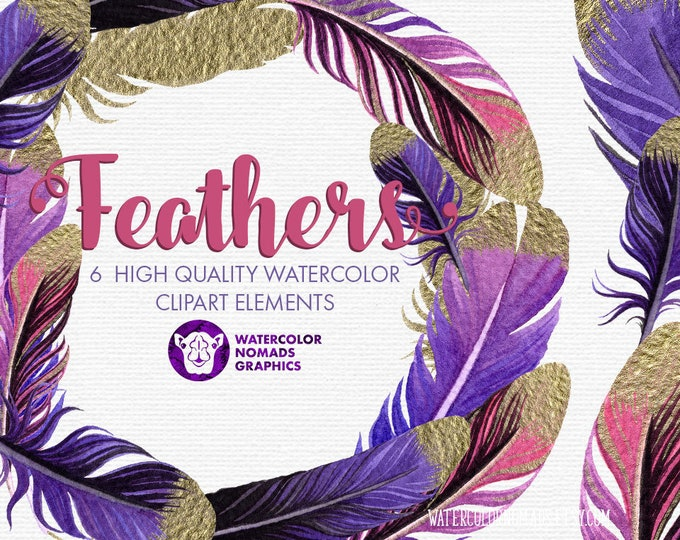 Purple Feathers clipart,  digital clipart graphics, gold purple feather wreath