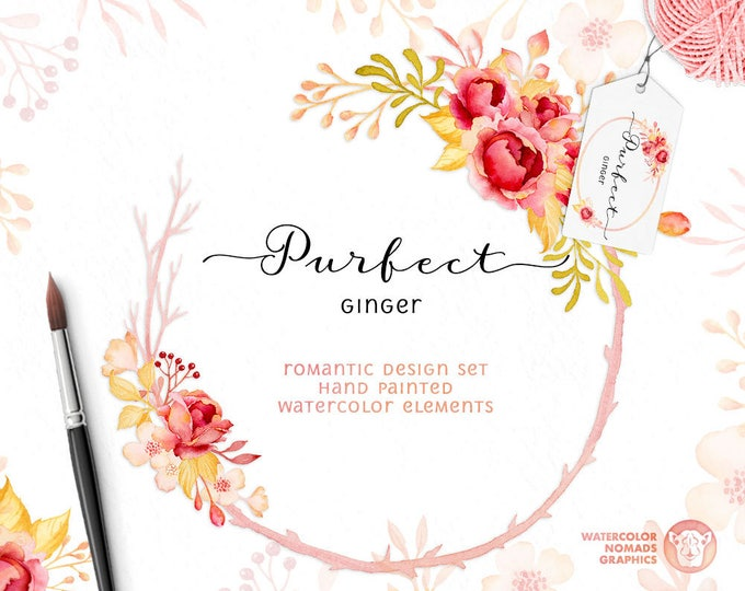 Watercolor Wreaths and Bouquets Clipart. Cottage Chic Roses Clipart Wreaths, DIY printable, digital watercolor for scrapbooking, diy wedding
