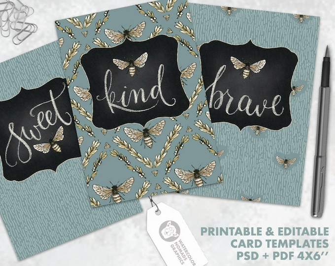 Hand Lettered Printable Card Templates, Bee Kind, Bee Brave, Bee Sweet, 4x6 greeting card, instant download, DIY card, inspirational art