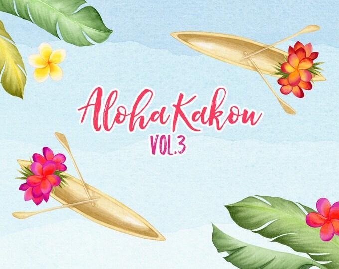 Hawaii clipart, flowers clip art, Tropical flowers, canoe, Summer floral,  digital paper, scrapbooking, plumeria, beach clipart, boat