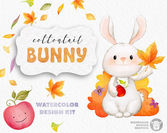 Fall clipart, Watercolor Bunny Clipart, Autumn, fall leaves , apples clip art, commercial use