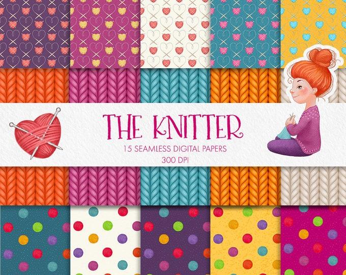 Digital papers set - The Knitter, yarn balls pattern, yarn heart pattern, knit fabric pattern, seamless patterns, scrapbooking, diy design