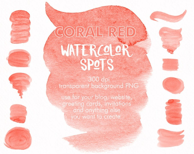 Coral Red Spots clipart, watercolor clipart, brush strokes clipart, digital watercolor, hand painted, boho clipart, diy invitation, Red