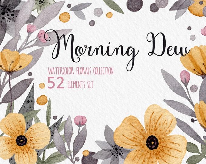 Digital watercolor clipart, Wedding clipart, watercolor posies, mustard floral, digital clipart, hand painted clipart, floral clipart