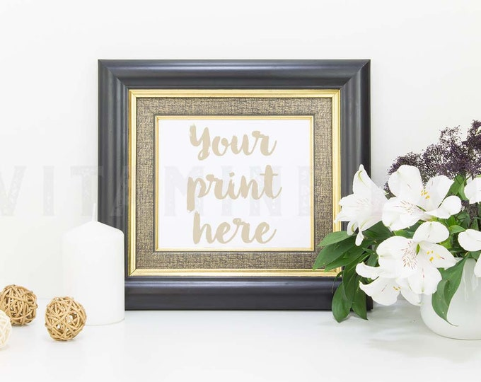 Black Frame Mockup, Print mockup, white flowers mockup, picture mockup, styled background, stock photo, mock-up, candle, horizontal frame