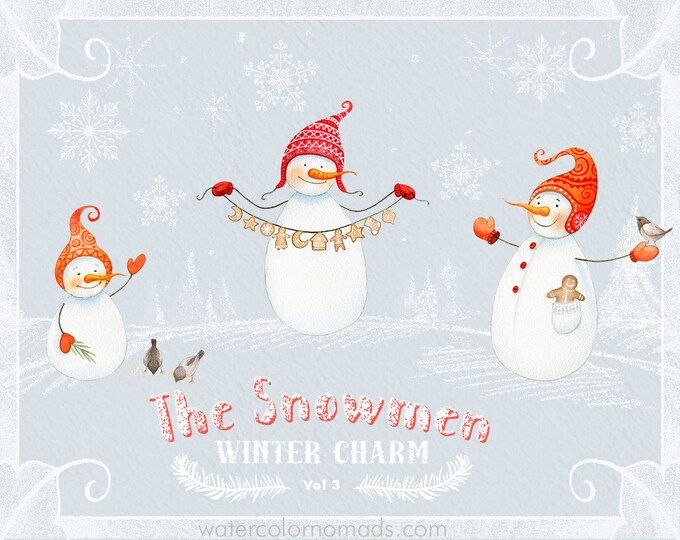 Snowman clipart, Christmas clipart, winter clipart, watercolor clipart, seamless pattern, snowflake, clip art, pine tree