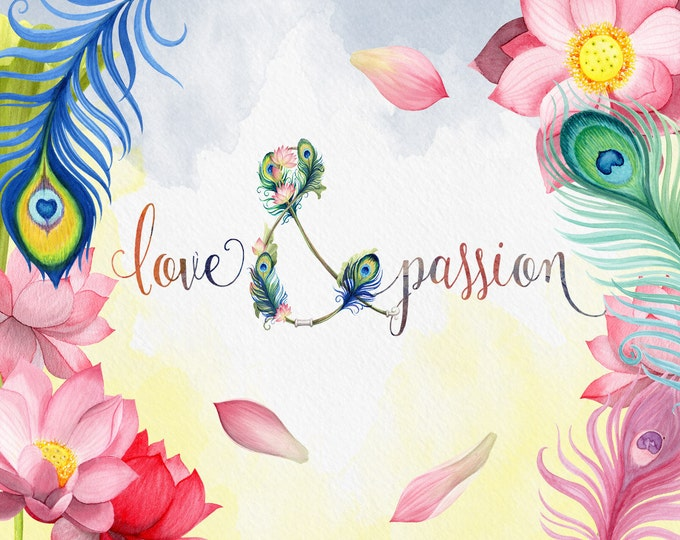 Love & Passion, Peacock Feathers, watercolor fllower clipart, floral clipart, Wedding flowers, boho flowers, Ampersand clipart, lotus flower