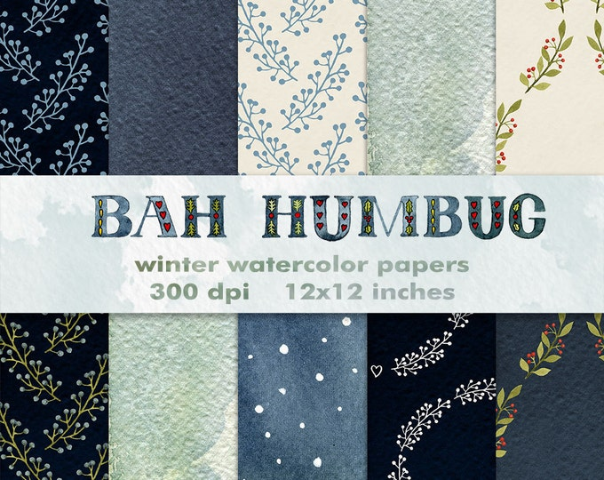 Winter watercolor digital papers, Watercolor Clipart, watercolor patterns, Christmas papers, Christmas backgrounds, Bah Humbug