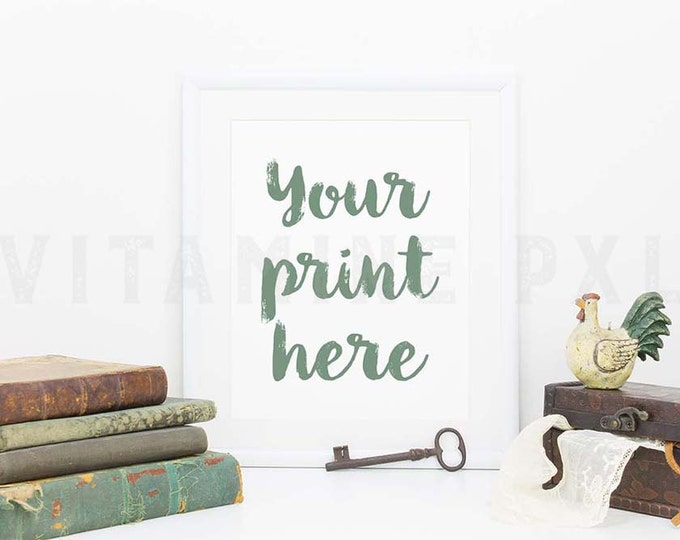 White Frame Mockup, Print mockup, shabby, white frame, old books, white mockup, picture mockup, styled background, stock photo, mock-up