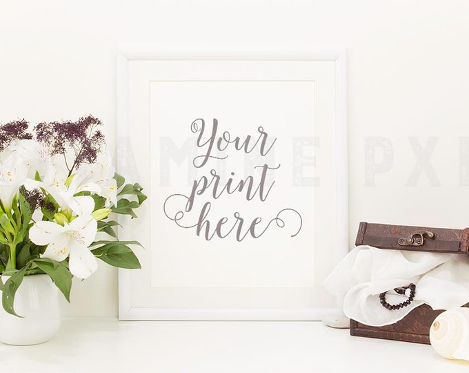 Floral Frame Mockup, Print mockup, photography, white frame, white mockup, picture mockup, styled background, stock photo, product mock-up
