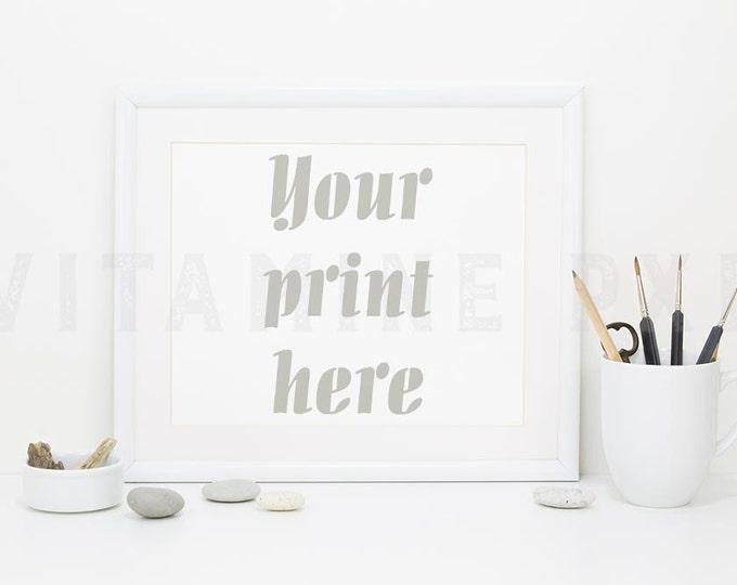 Art Print Mockup, Print frame mockup, white landscape frame, artwork frame, picture mockup, styled frame mockup, stock photo, product mockup