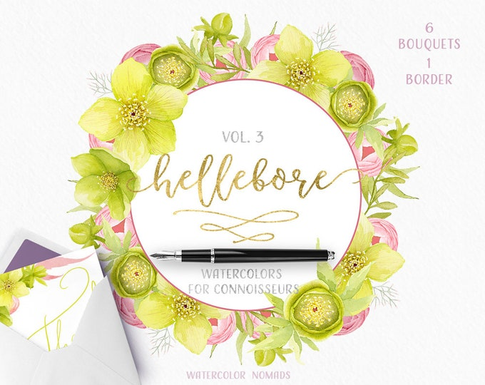 Spring Flowers Clipart, Watercolor Floral Wreath, Boho, Spring Green Bouquet
