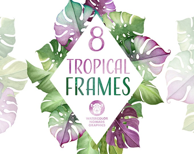 8 Tropical Leaf Frames clipart, greenery & ultraviolet watercolor clipart, commercial use illustrations