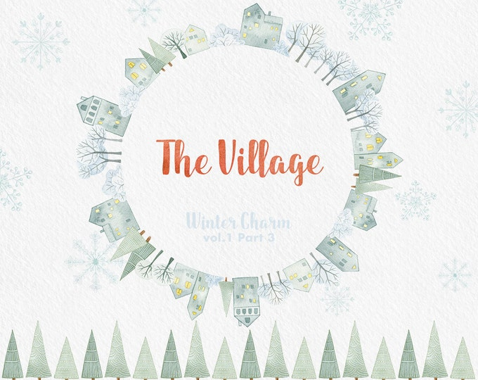 Winter Clipart, snowy Village, house, wreath, Christmas clipart, watercolor clipart, printable, scrapbooking, snow flake, illustration