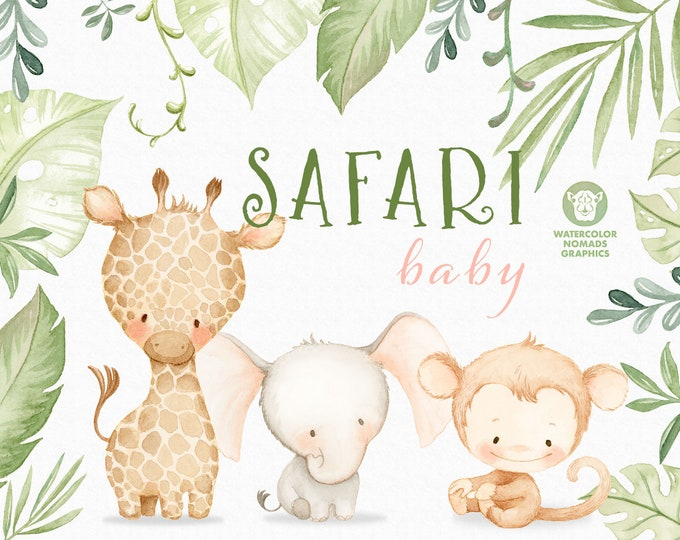Jungle Safari Baby Animals Watercolor Clipart Illustrations, Printable clipart for instant download