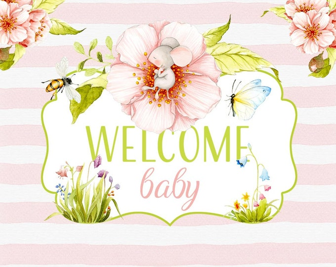 Welcome Baby clipart, Spring clipart, Baby clipart, Baby shower, digital paper, flower patterns, watercolor patterns, mouse, chick