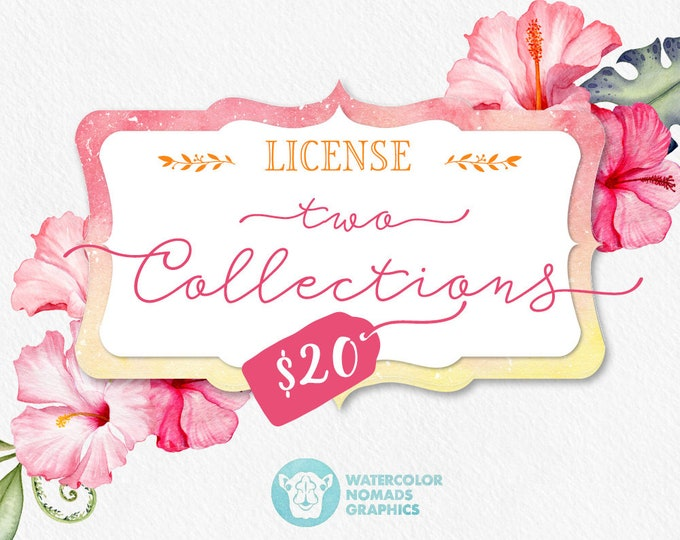 Commercial Use No Credit License for two clipart collections by Watercolor Nomads