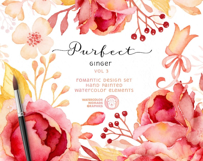 Clipart Flower Roses, Watercolor Flower Clipart, diy wedding, printable, digital scrapbooking, gift for her, cardmaking, papercraft