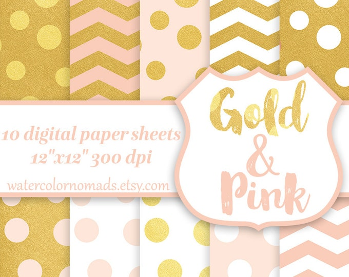 Digital Paper Gold & Pink, chevron, dots, white, scrapbook paper, pattern background, gold chevron, pink chevron, gold pattern, gold dots