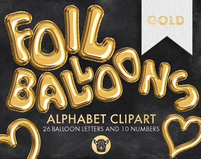 Gold Foil Balloons Clipart, Foil Letters Clipart, Balloon Font, Gold Alphabet, Gold Foil Numbers Clipart, Party Letters, DIY Invite