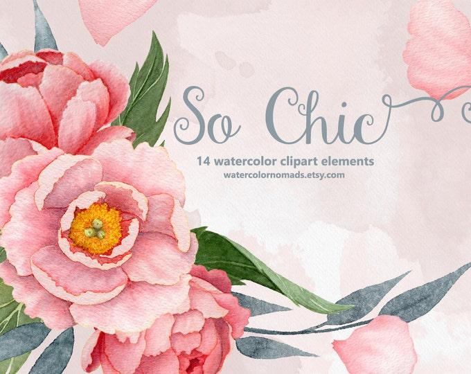 Peony clipart, Watercolor flowers, boho wedding, pink peonies wreath, digital watercolour, floral illustration, instant download, scrapbook