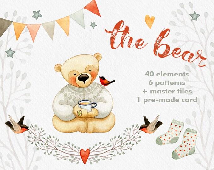 Teddy Bear clipart, Baby clipart, winter clipart, birds clipart, hearts clipart, card template, digital clipart, editable PSD, digital paper