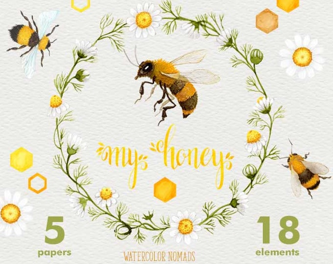 Bee watercolor clipart, Bee My Honey, honeycomb background, camomile wreath, digital clipart, hand painted, floral clipart, honeybee, clover
