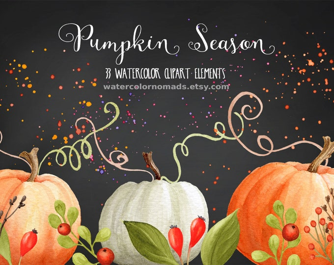 Pumpkin clipart, Autumn clipart, Thanksgiving clipart,  halloween clipart, commercial use, digital clipart, fall clipart, watercolor clipart