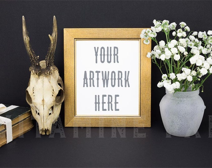 Gold Frame Mockup, Print mockup, photography, artwork mockup, picture mockup, deer skull, stock photo, product mock-up, old books, flowers