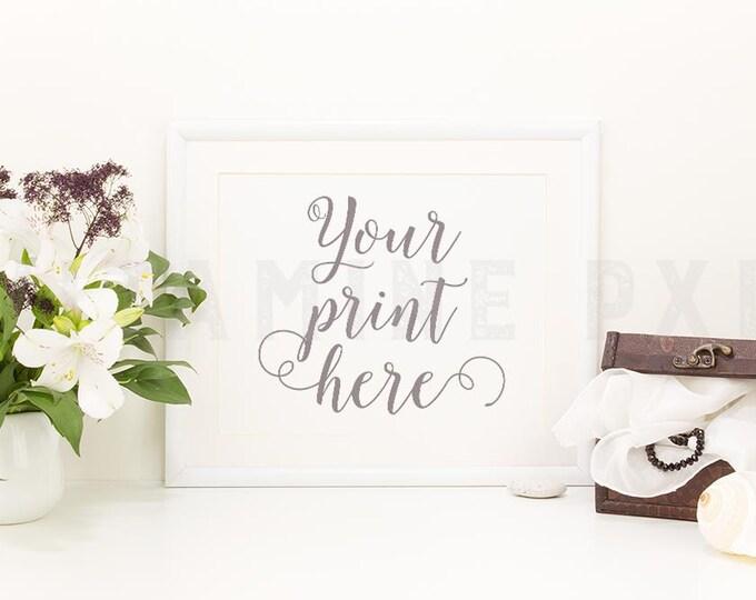Floral Frame Mockup, Print mockup, white landscape frame, white frame, picture mockup, styled background, stock photo, product mock-up