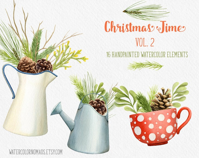 Christmas clipart, winter clipart, Christmas decor clipart, digital clipart, pine cone clipart, juniper clipart, holiday clipart, watercolor