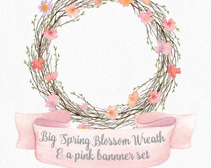 Spring clipart, blossom wreath, flower clipart, wedding clip art, pink flower clipart, digital clipart, banner clipart, invitation
