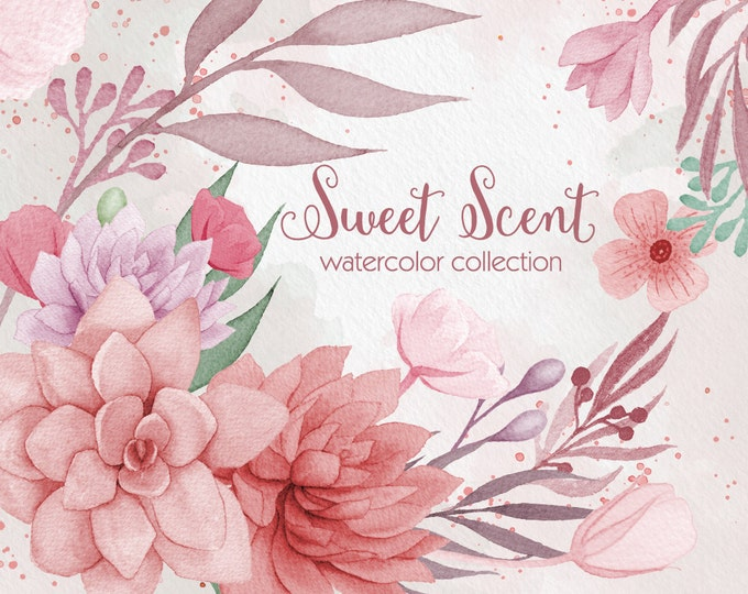 Digital watercolor clipart, wedding clipart, Succulent clipart, pink flower clipart, digital watercolor, hand painted, floral clip art