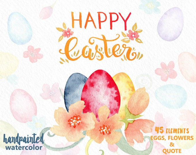Watercolor Easter Clipart, Easter Eggs Clipart, Spring Flowers, bouquets, digital watercolor, hand lettering, Spring, Happy Easter