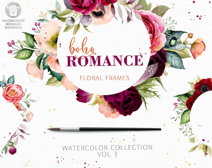 Boho Romance Vol 3, watercolor flowers clipart, floral frames, geometry, spring, peony, anemone, greenery, leaf, wreath
