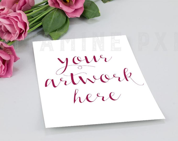 Invitation Mockup, card mockup, Wedding mockup, styled photography, artwork mockup, pink flower, stock photo, product mockup,  styled mockup