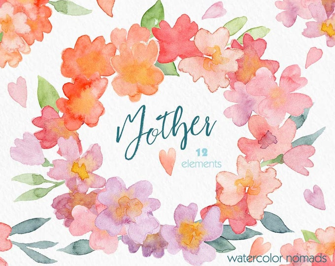 Floral watercolor clipart, Mother's Day , spring flowers, flower graphics, wreath, digital ,diy gift for mom