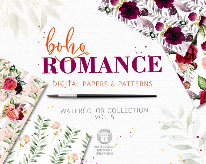 Boho Romance Vol 5, watercolor digital papers, floral patterns, peonies, anemones, bridal, bouquet, gypset