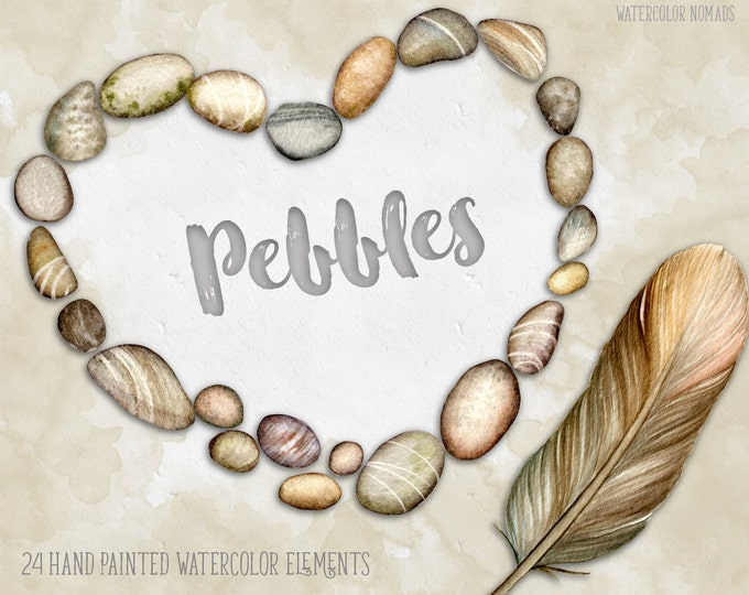 Digital watercolor clipart, Pebbles, Feather, digital clipart, hand painted clipart, river stones, nature clip art, beach clipart, heart