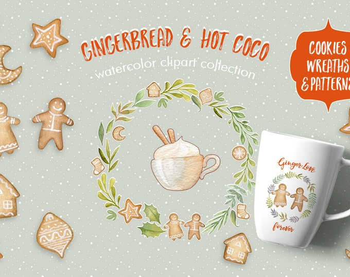 Gingerbread cookies clipart, Christmas clipart, wreath clipart, watercolor clipart, seamless pattern, watercolor wreath, winter clipart