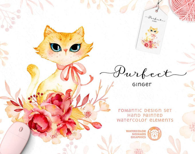 Cute Kitten Clipart, Watercolor Flowers. Cute Cat Clipart, Pink Flower Wreath,  crown, diy, printable, instant download, roses, scrapbooking