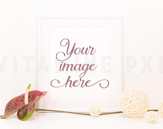 Floral Frame Mockup, Print mockup, photography, white frame, artwork mockup, picture mockup, styled photo, stock photo, product mock-up