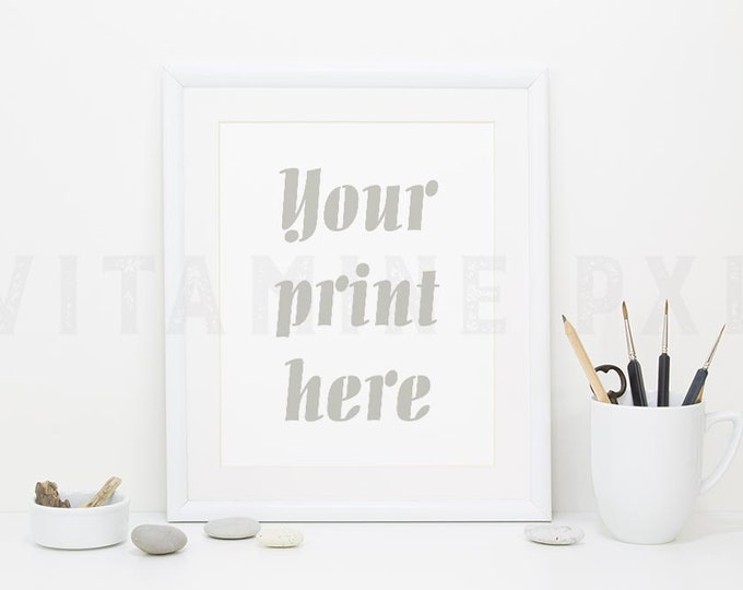 Frame Mockup, Print mockup, photography, white frame, artist brushes, white mockup, picture mockup, styled background, stock photo, mock-up